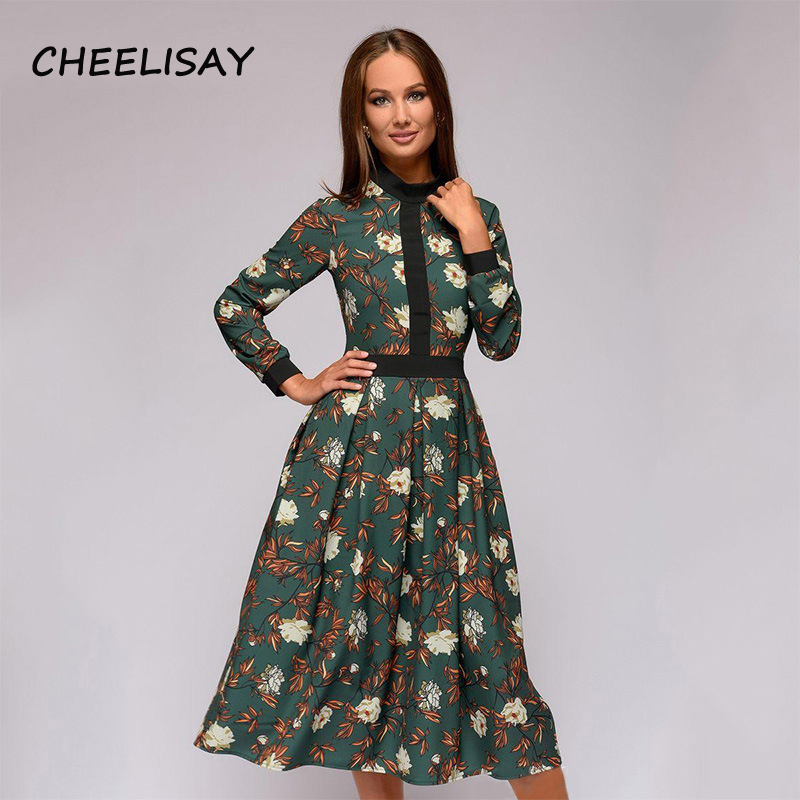 patchwork printing women A-line dress 2019 Spring Summer vintage style vestidos for female Casual