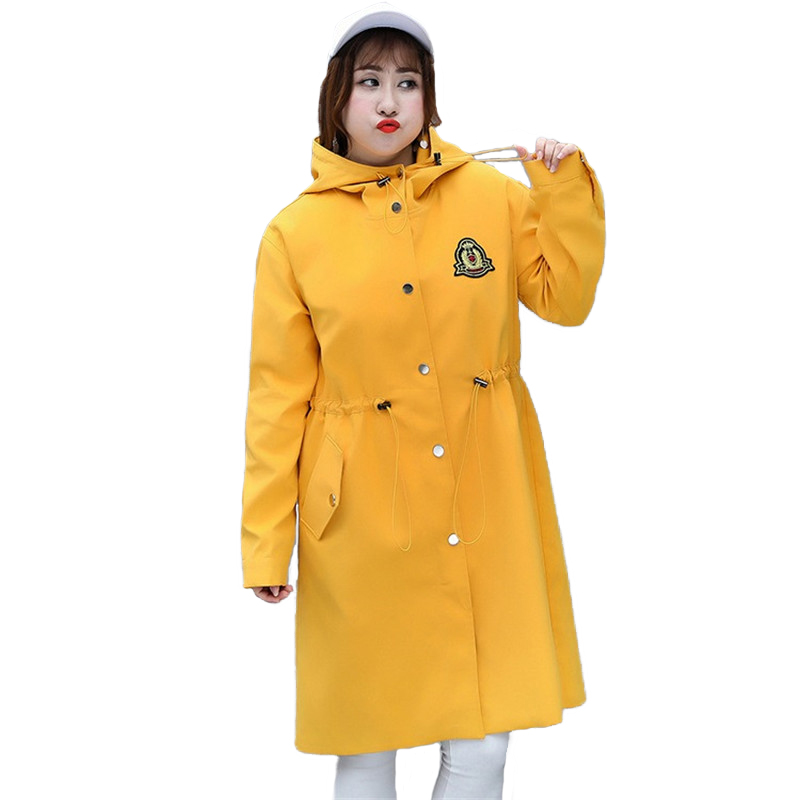 Plus size 4XL   Trench   Coat Women Spring Autumn Hooded Windbreaker Korean version Outerwear Fashion Large size   Trench   Coats A2440