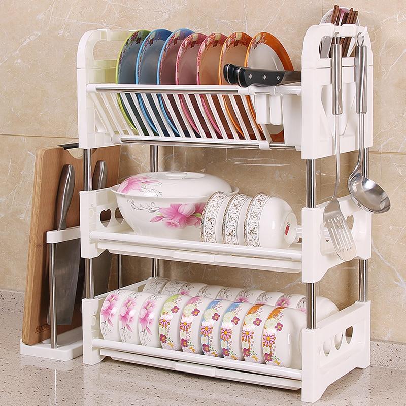Three tier dish rack drain rack household kitchen rack ...