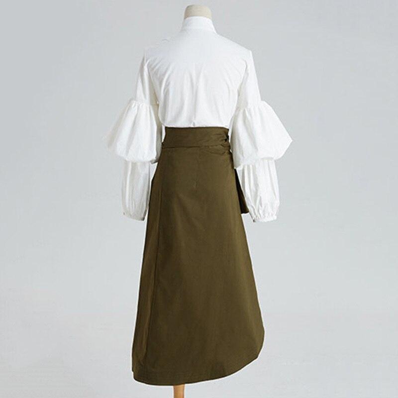 CHICEVER automne deux pièces ensemble femmes costume manches bouffantes chemise blanche avec taille haute irrégulière Midi jupe vêtements mode coréenne - 5