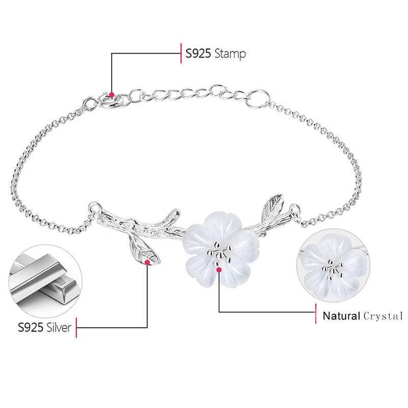 حلي مصنوعة يدويًا من الكريستال الطبيعي من الفضة الإسترليني عيار 925 مصنوعة يدويًا على شكل زهرة في المطر سوار مُزين بحُلي للنساء هدية