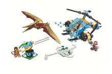 Classic Jurassic World Park Building Blocks Helicopter Catch Dinosaurs Pterosauria DIY Bricks Toys For Children blocks toy loz mini kids blocks jurassic world building blocks lot huge dinosaurs jurassic park christmas toys for children