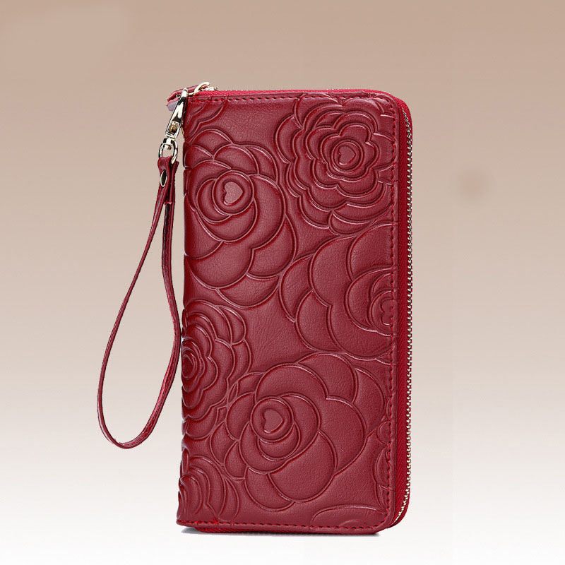 Hot Sale Luxury Brand Genuine Leather Women Wallet High Quality Embossing Lady Zipper Style Card Holder