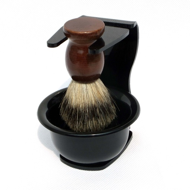 Acrylic Shaving Brush Stand Bowl with Badger Hair wood handle Barber Beard brush