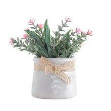 European Ceramic Vase with Artificial Flowers White Pink purple Desktop Indoor Garden Decoration Vases Home Decor