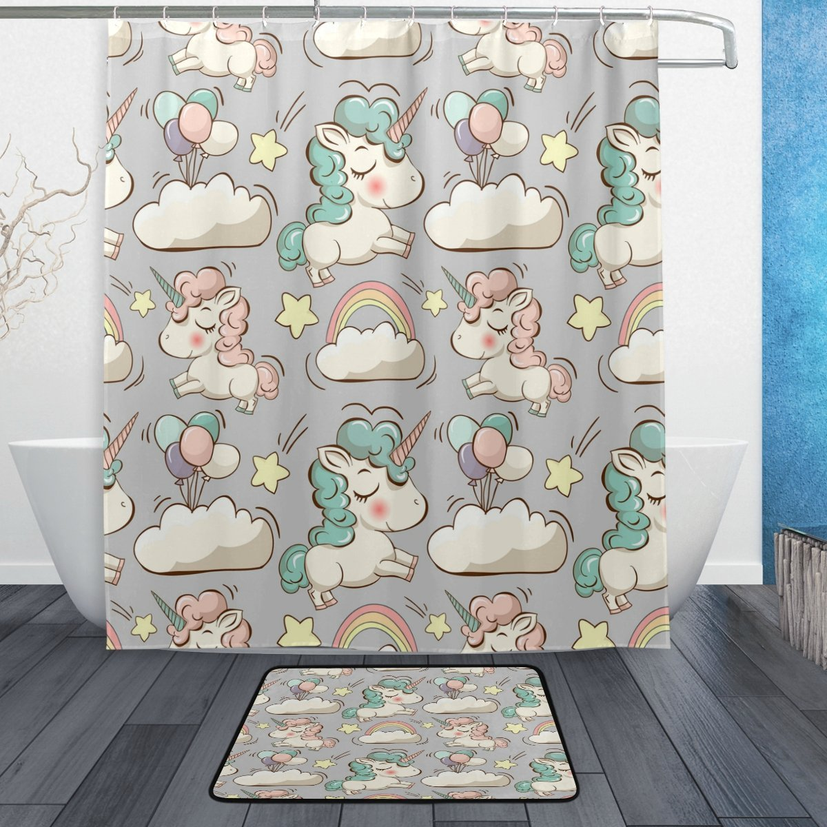 Cute Unicorn Cloud and Balloon Waterproof Polyester Fabric Shower Curtain with Hooks Doormat Bath Floor Mat Bathroom Home Decor