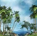 Тропический пейзаж пальмы море пляж фото фон виниловая ткань Высокое качество компьютерная печать стены фотографии фоны