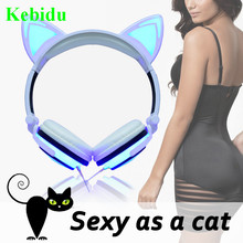 Kebidu Cute Sexy Cat LED Ear Earphone USB Chargable Folded Headphones Flashing Glowing Gaming Headset Gift for Girl Child Kid(China)