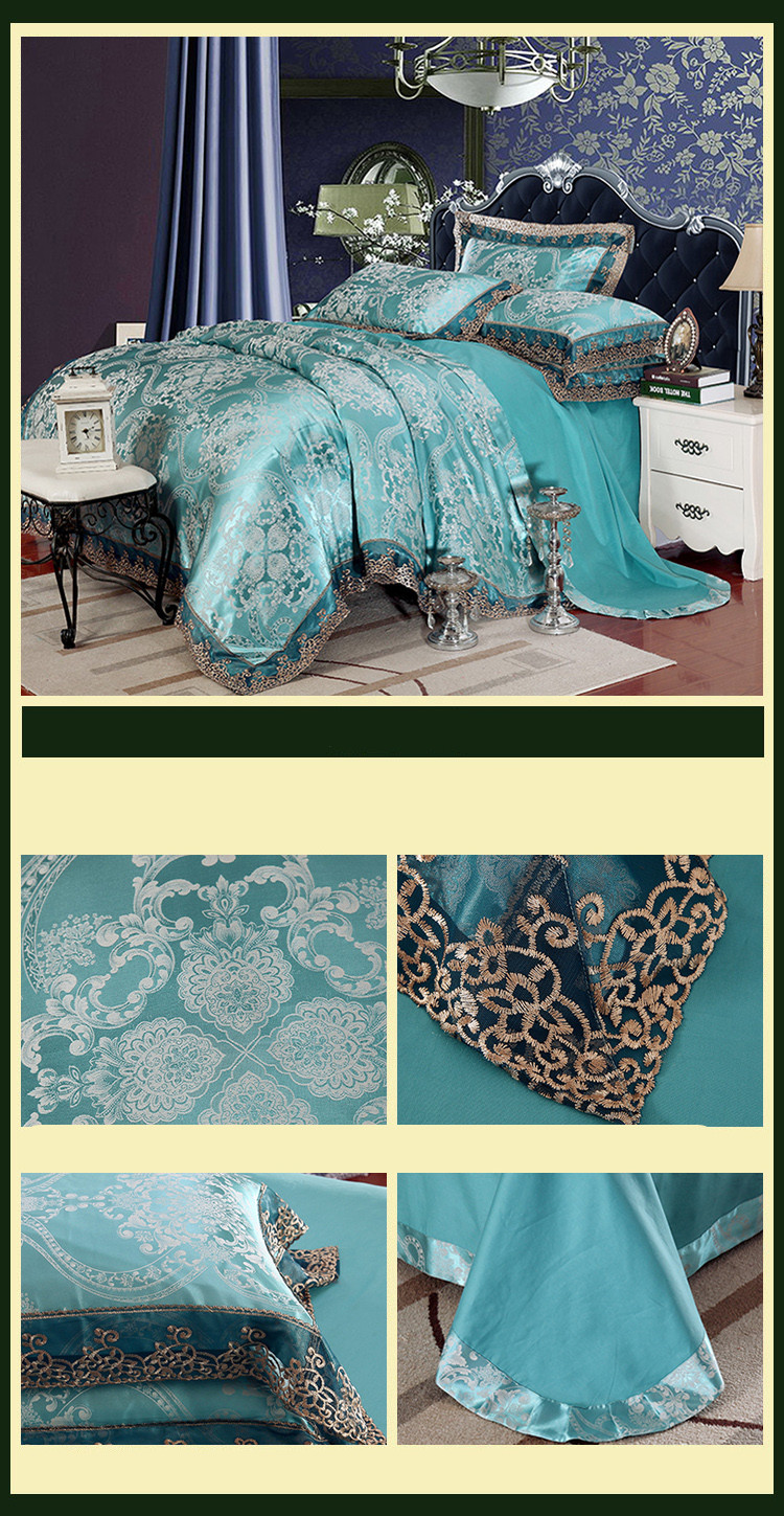 New Luxury Embroidery Tinsel Satin Silk Jacquard Bedding Set, Queen, King Size, 4pcs/6pcs 18