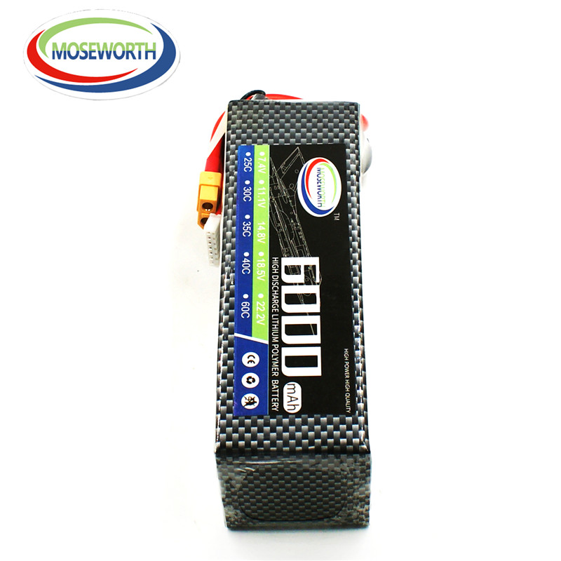 MOSEWORTH 6S 22.2v 6000mah 25c RC lipo battery for rc drone car airplane lithium cell akku batteria free shipping