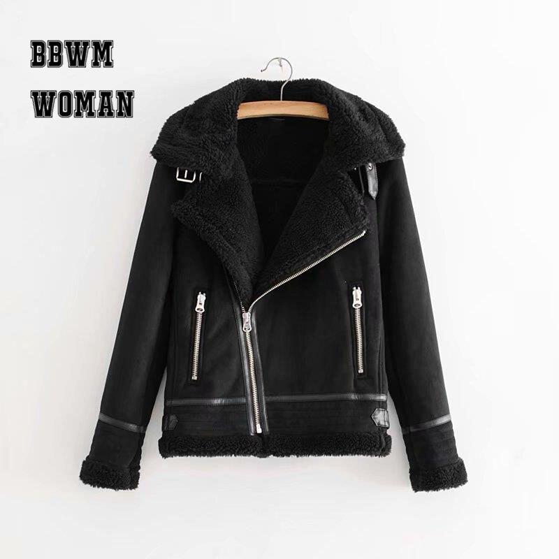 สีดำสีกากีหนังหนังผู้หญิงเสื้อ 2018 แฟชั่นกระเป๋าซิปฤดูหนาวแจ็คเก็ตแฟชั่น ZO1406-ใน แจ็กเก็ตแบบเบสิก จาก เสื้อผ้าสตรี บน   1