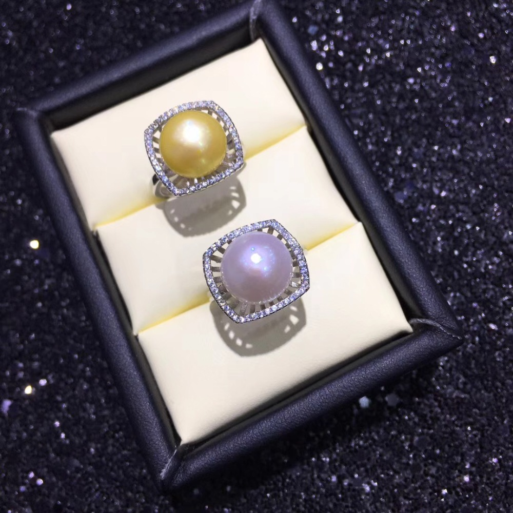 Fashion Pearl Ring Mountings Ring Findings Adjustable Ring Jewelry Setting Parts Fittings Charm Accessories Silver Jewellery