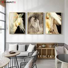 Pinturas de arte en la pared con animales, impresiones Golden Horse de alta definición, carteles, sala de estar vivo para pintura moderna en lienzo, dormitorio, decoración del hogar