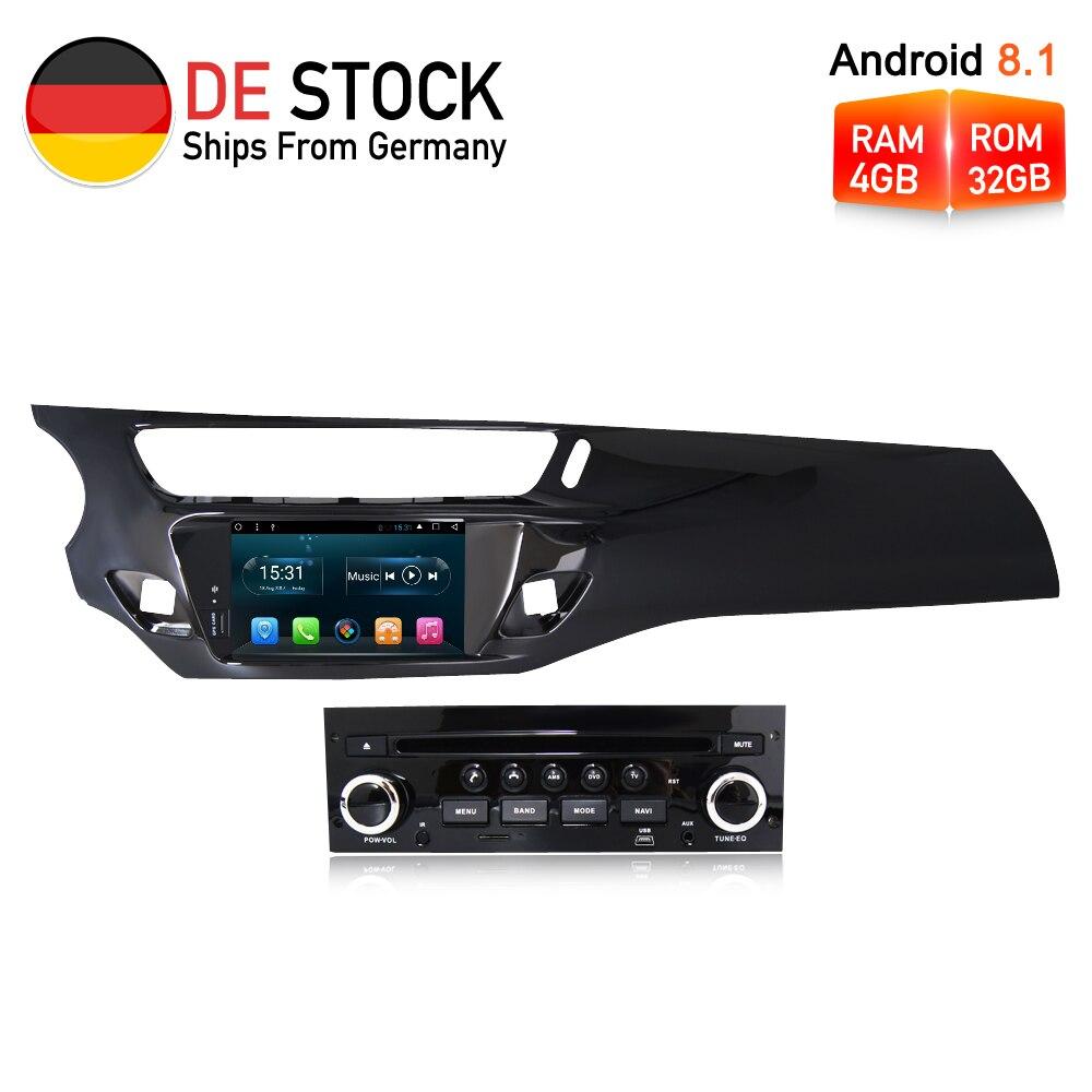 Octa Core Android8.1 Voiture Radio GPS DVD Lecteur Multimédia Stéréo Pour Citroen C3 DS3 2010-2016 Auto Audio Navigation headUnit