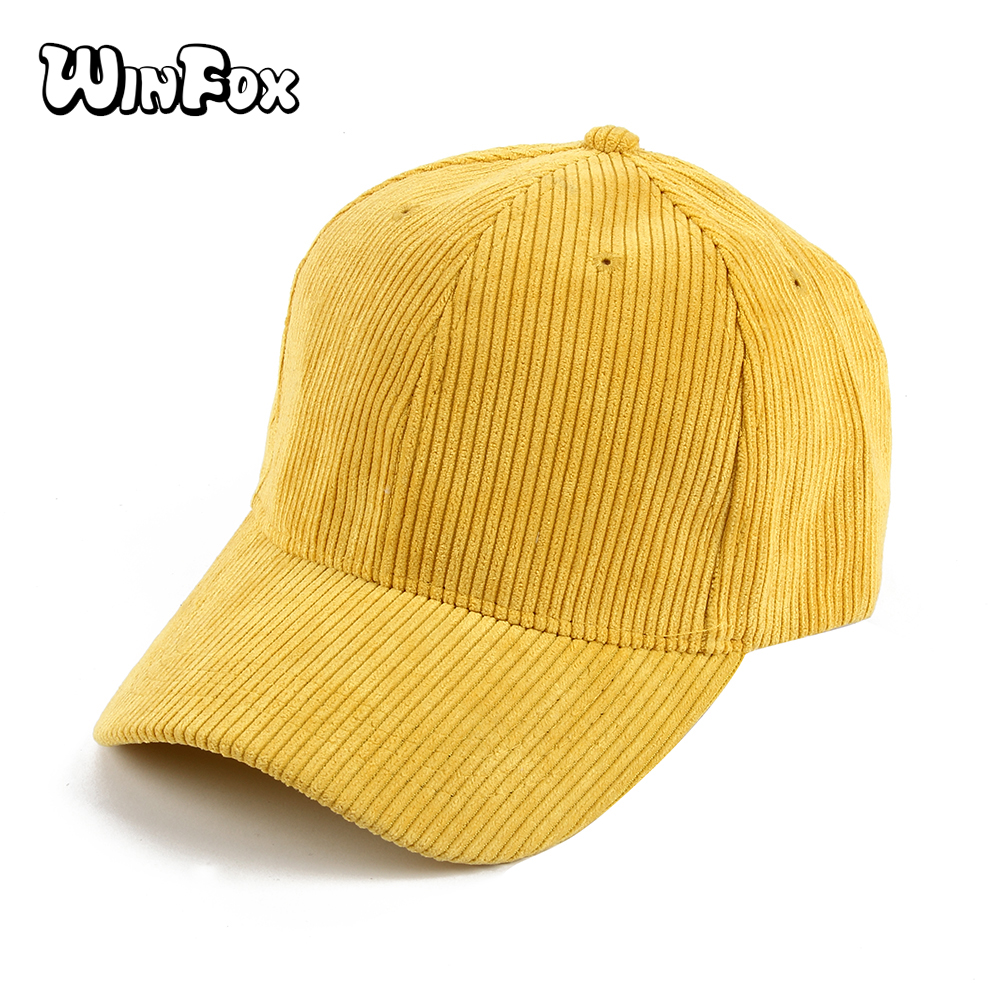 Winfox New Fashionable Black Grey Yellow Solid Color Corduroy Snapback Hats Casquette Gorras   Baseball     Caps