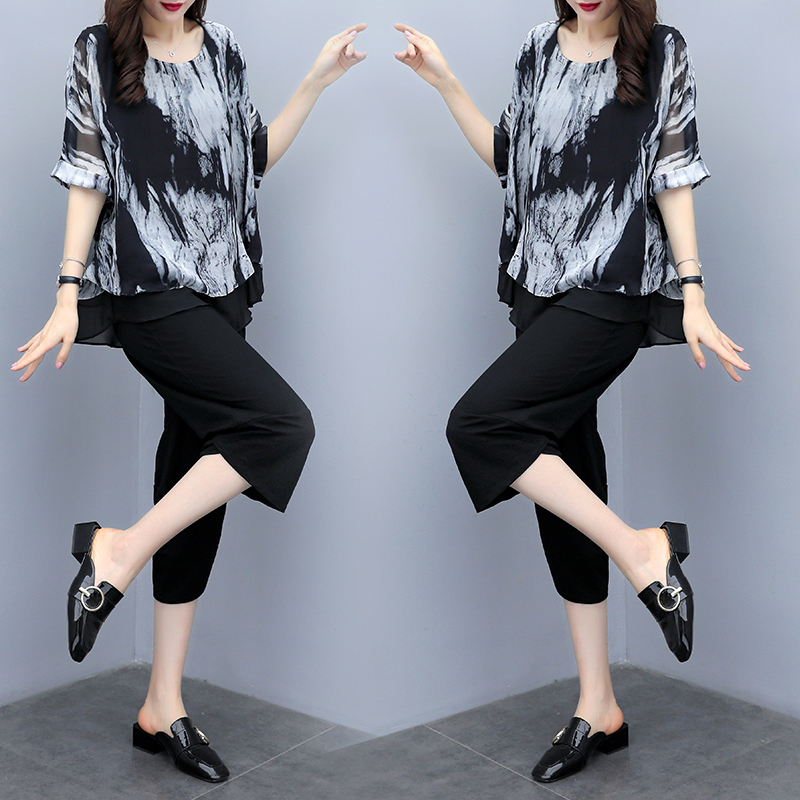 L-5xl Plu Size Summer Printed Vintage Two Piece Sets Women Short Sleeve Tops And Pants Suits Casual Office Elegant Korean Sets 22
