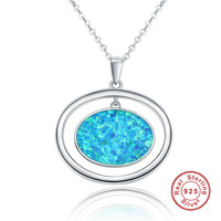 Fashion Double Oval Blue Opal Vintage 925 Sterling Silver Necklace Pendants for Women Jewelry