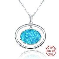 Thời trang Đôi Hình Bầu Dục Màu Xanh Opal Vintage 925 Sterling Bạc Vòng Cổ Mặt Dây Phụ Nữ Jewelry