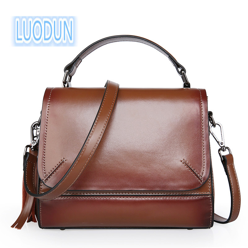 LUODUN Leather handbags summer small bag multi-purpose ladies leather bag shoulder Messenger ring bag цена