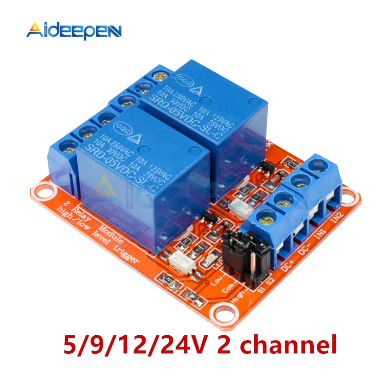 5V 9V 12V 24V 10A Max 2 Channel Relay With Optocoupler Isolation Module High Low Lever Trigger Shield Board For Ardiuno
