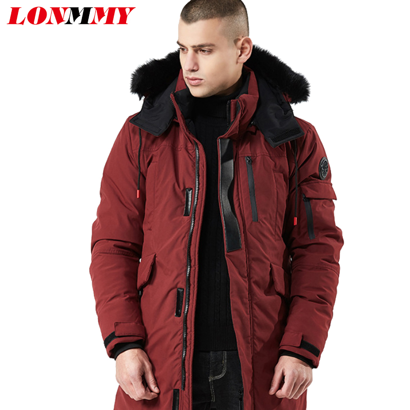 LONMMY Parkas men winter jackets coat men Fake fur collar Thicken Warm Outerwear Military style windbreaker long Hooded 2018 New new men s military style casual fashion canvas outdoor camping travel hooded trench coat outerwear mens army parka long jackets