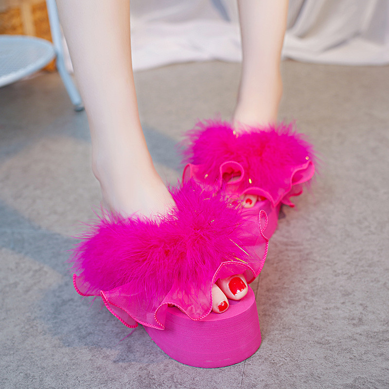 YMECHIC 2018 Fashion Rose Red White Ruffles Fur Tassel Lady Platform Flip  Flops Wedges Heels Slides Punk Womens Shoes Summer dcf9a02f59c4