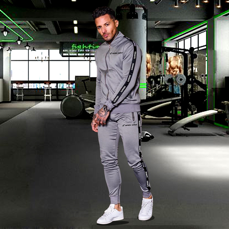 2019 spring and autumn sports suit long sleeve zipper jacket for men outdoor running training fitness fashion jacket sports suit in Men 39 s Sets from Men 39 s Clothing