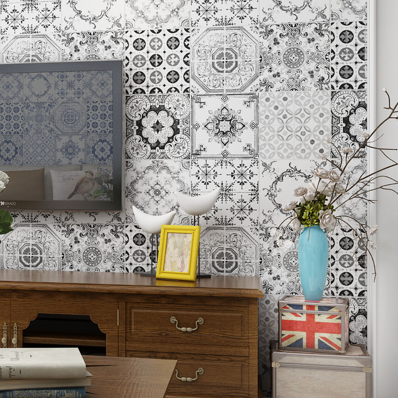 Imitation Tiles Wallpaper Background Wallpaper Bohemian Ethiopian Mediterranean Southeast Asian Living Room Wallpaper Roll