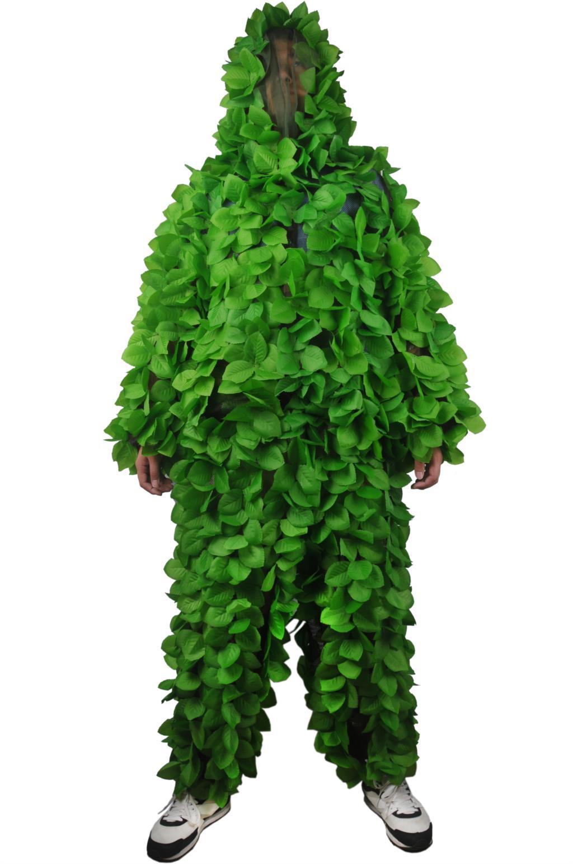 VILEAD Vert Feuilles Camouflage Costume de Chasse Ghillie Suit Woodland Camouflage Vêtements de Chasse Camo Sniper Armée Airsoft Uniforme
