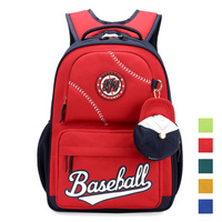 MeanCat America Baseball Schoolbag Backpack with Baseball Shape Mini Change Purse for Student Kids Alleviate Burdens