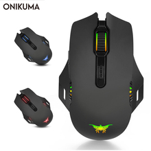 лучшая цена ONIKUMA W200 Wireless Gaming Mouse Rechargeable 2.4GHz Optical 6000 DPI Gaming Mice LED Colors Computer Muis For Laptop Notebook
