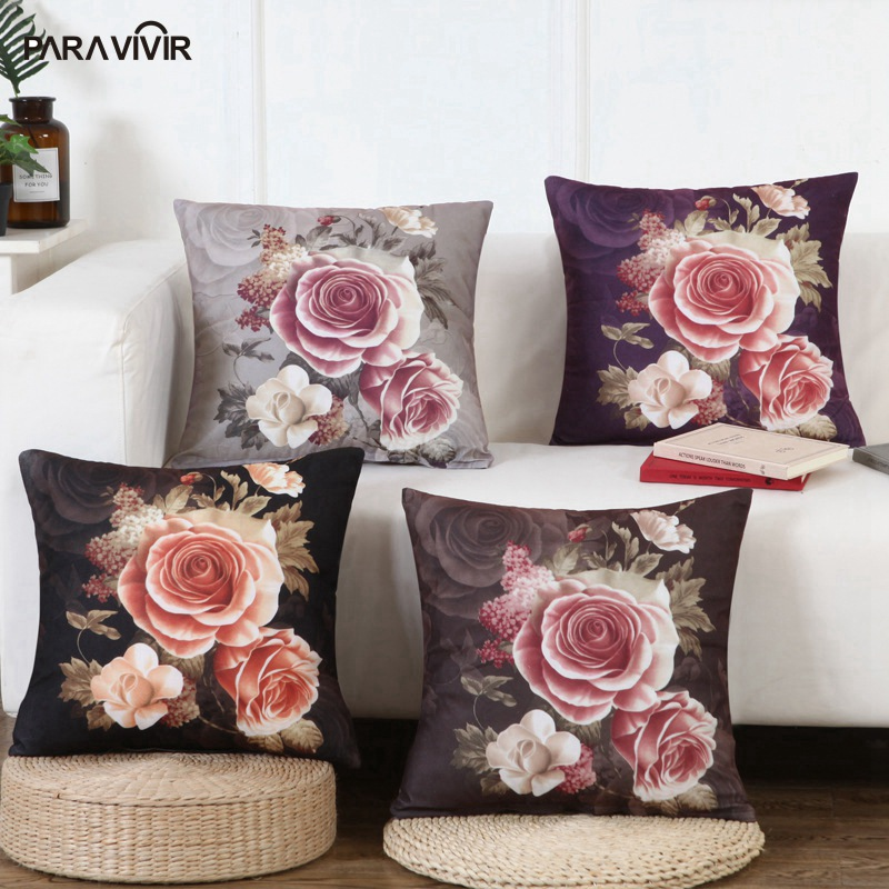 PARA VIVIR Cushion Cover Elegant Rose Pattern Print Pillow Covers Throw on Sofa Bed Decorative Pillows Case Valentines Day Gift
