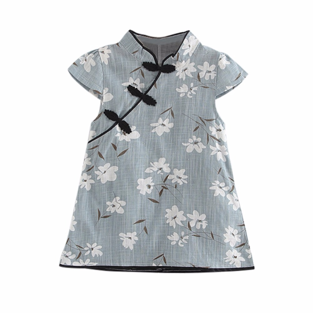 93582fdf7788 2018 Fashion Summer Baby Girl's Dresses Cheongsam Chinese Traditional Style  Floral Pattern Chinese Dress Vestidos