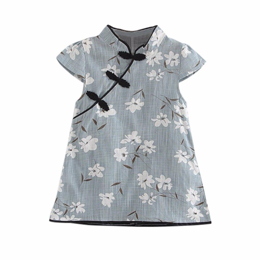 2018 Mode Sommer Baby Mädchen Kleider Cheongsam Chinesische Traditionellen Stil Blumenmuster Chinesischen Kleid Vestidos Hoher Standard In QualitäT Und Hygiene