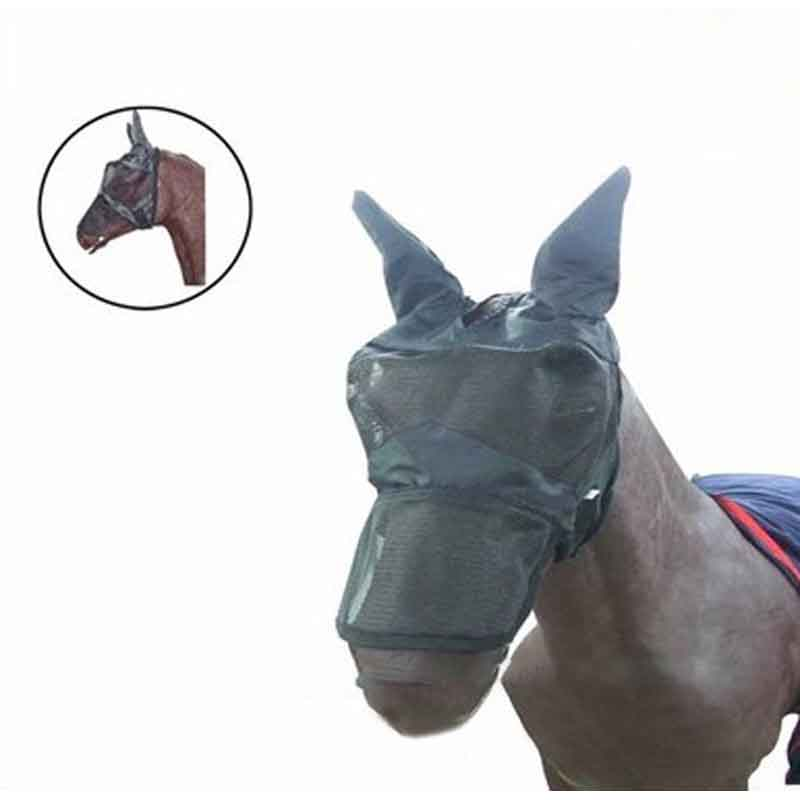 Horse Detachable Fly Mask Polyester Mesh With Nasal Cover Pet Supplies Anti-mosquito Horse Full Face Mask Horse Equipment
