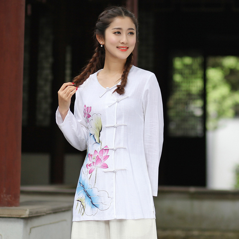 China first wholesale store New Arrival Summer Chinese Style Cotton Linen Women Tang Suit Tops Blouse Traditional Elegant Slim Shirt M L XL XXL XXXL T53