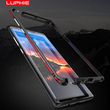 Luphie parachoques de Metal curvo para Samsung Galaxy Note 9, carcasa Note 8 para iphone X, Xs, Max, Xr, 8, 7 Plus, cubierta ultrafina con marco de aluminio