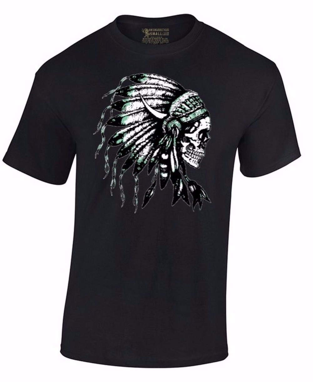 Native Sugar Skull Feather Hair Indian Day Of Dead Dia De Los Muertos T-Shirt Hot Selling 100 % Cotton ...