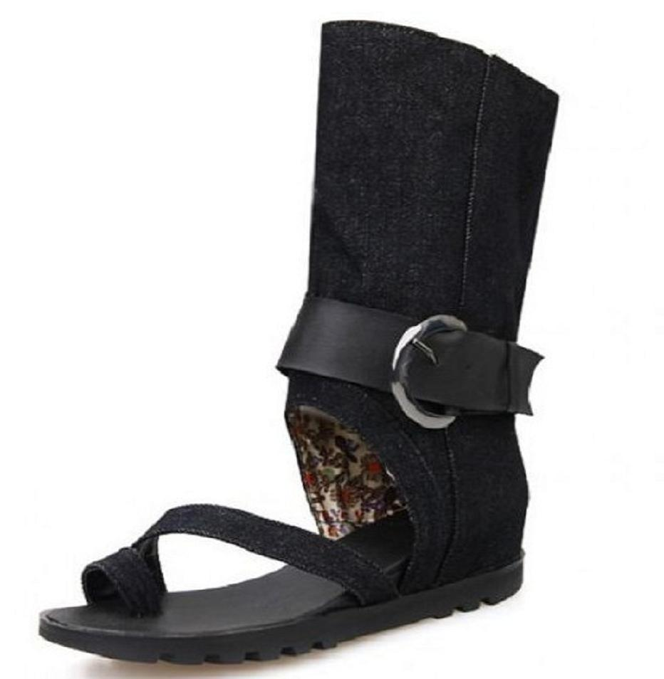 Black boot sandals - Black Blue Girl Womens Summer Gladiator Roman Boots Sandals Denim Canvas Jean Cut Out Thong Flat