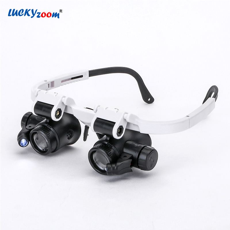Luckyzoom Headband Glasses Magnifier Magnifying Glass With LED Lights 8X 15X 23X Illuminated Magnifier Loupe Watch Repair Lamp 8x folding magnifier with scale