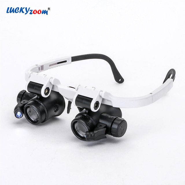 737fcbdea40f Luckyzoom Headband Glasses Magnifier Magnifying Glass With LED Lights 8X  15X 23X Illuminated Magnifier Loupe Watch