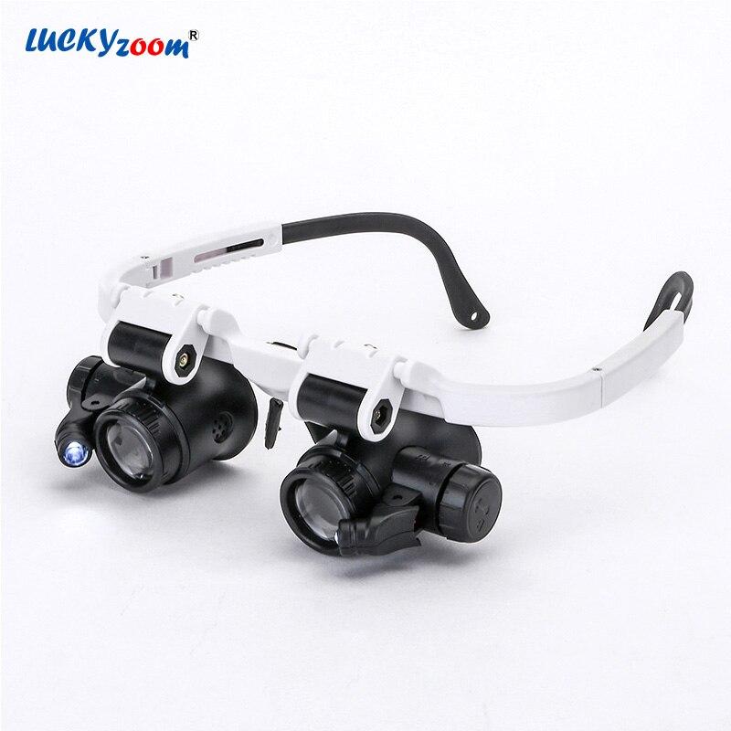 Luckyzoom diadema gafas lupa con luces LED 8X 15X 23X iluminado lupa reloj reparación lámpara