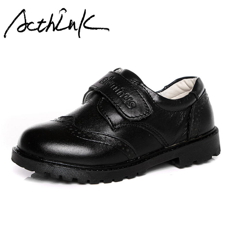 ActhInK New Boys Black Leather Brogue Shoes England Style Kids Formal Wedding Shoes for Boys School Children Leather Shoes Brand