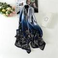 180*90cm Silk Scarf Luxury Brand Women Shawls New Fashion Long  Pure Silk Scarves With blue lace Print hijab Shawl High Quality