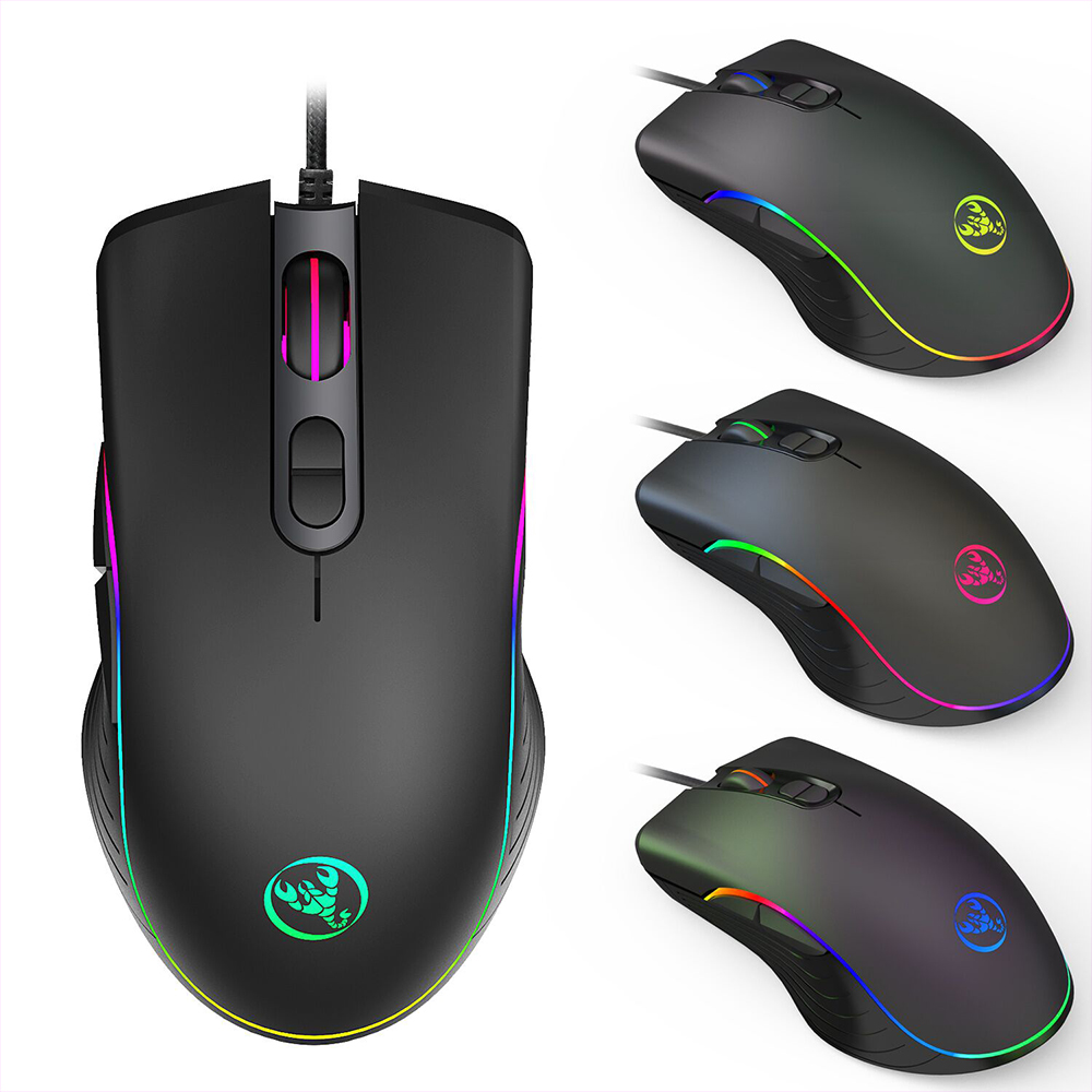 HXSJ Gaming Mouse Wired 6400DPI 3200DPI 4-level Adjustable Mice Gamer 7 Button RGB LED
