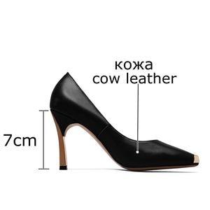 Image 3 - ALLBITEFO ขนาด: 33 41 ของแท้หนังสแควร์ toe ผู้หญิงส้นสูงรองเท้าโลหะ toe รองเท้าส้นสูงฤดูใบไม้ผลิผู้หญิงปั๊ม party ผู้หญิงรองเท้า