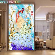 Diy Full Round Resin Diamond Embroidery Painting Rhinestones Kit Beauty Pearl Peacock Chinese Style Mosaic Decor As Hobby Gift
