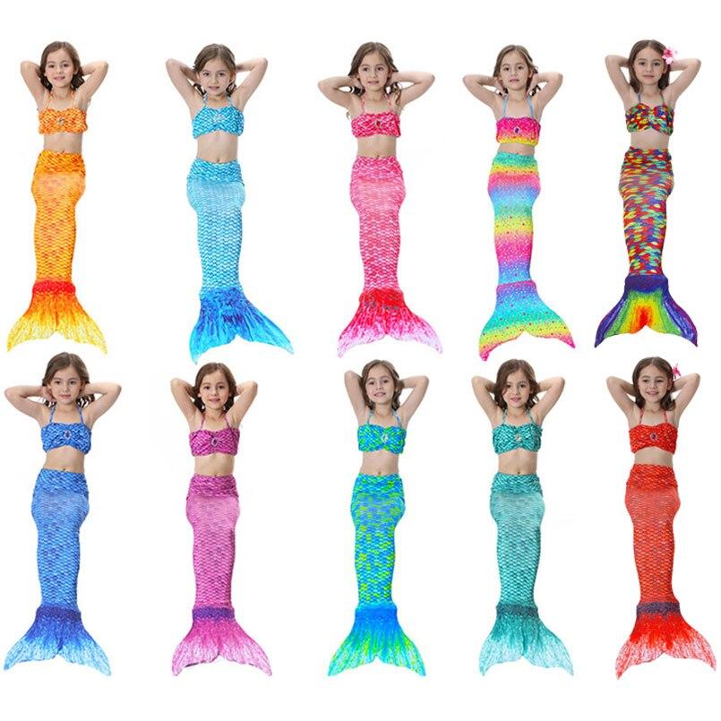 3PCS Girls Mermaid Tail Swimwear Cosplay Mermaid Bikinis Set Kids Mermaid Tails Swimsuit Beach Swimming Costume Clothes For Swim