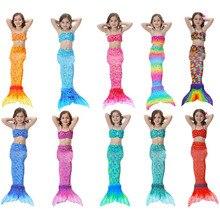 3PCS Girls Mermaid Tail Swimwear Cosplay Bikinis Set Kids Tails Swimsuit Beach Swimming Costume Clothes for Swim