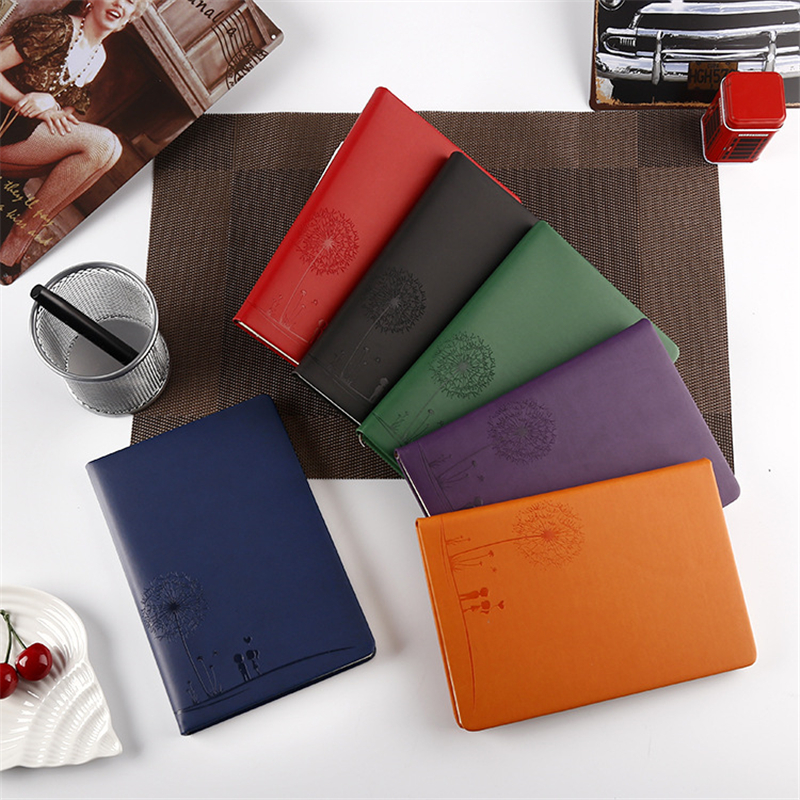 Leather Notebook Diary A5 Creative Cute Stationery School Office Supplies Simple Notebooks Business Conference Notepad Gift ann notebook korea school supplies stationery cute happy graffiti leather surface solid color printing loose leaf diary notepad